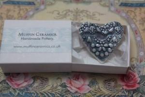 Porcelain and lustre brooch
